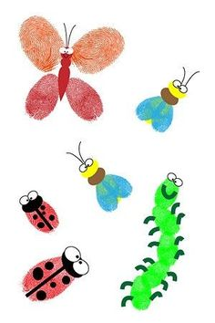 fingerprint bugs makes a fun craft when learning about bugs and insects! Kids Crafts, Bug Crafts, Crafts To Do, Craft Projects, Arts And Crafts, Auction Projects, Fingerprint Crafts, Footprint Crafts, Handprint Art