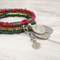 Gypsy Bangle Stack, Red, Gold and Green, 3 Bohemian Tribal Bracelets, Silk Wrapped Rasta Set
