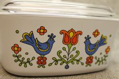 Country Festival Corning Ware Covered Casserole Dish Distelfink Motif Vintage Baking Kitchen