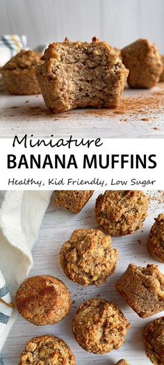 These mini banana muffins are healthy and low in sugar. This is a great toddler muffin recipe - only sweetened with bananas, nut free, gluten free and egg free! #minimuffins #bananamuffins #toddlerfood #eggfree #grainfree #nosugaradded Healthy Meals For Kids, Healthy Breakfast Recipes, Breakfast Ideas, Healthy Food, No Sugar Foods, Low Sugar, Free Recipes, Vegan Recipes, Toddler Muffins