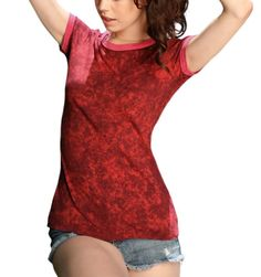Kavio Junior Vintage Silicon Wash Short Sleeve Ringer Tee-Wine / Pomegranate