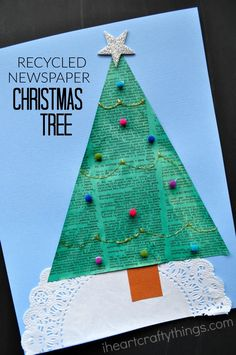 Recycle an old newspaper into a pretty Christmas Tree Craft for Kids.