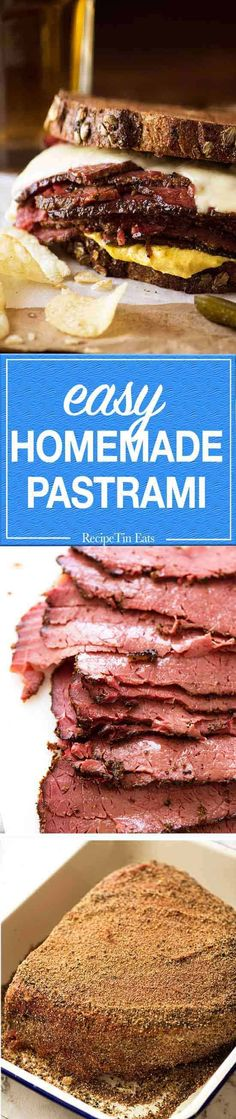Tender, succulent pastrami made at home with the signature spice crust. Meat Recipes, Slow Cooker Recipes, Crockpot Recipes, Cooking Recipes, Recipies, Homemade Pastrami, My Favorite Food, Favorite Recipes, Recipetin Eats