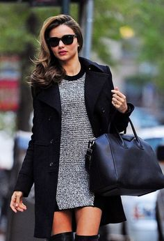 Miranda Kerr = my current style crush. that Givenchy bag and Hermes thigh high boots... = love!