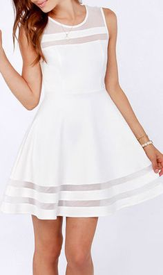 White Round Neck Sleeveless A Line Dress