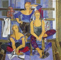 """Feliz Día Internacional de la Danza """"Tres bailarinas posando"""" 150 x 150 cm.  Año 1996"""