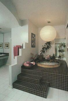 """palmandlaser: """"Aus Rodales Home Design Series: Baths - Neues Zuhause Design Home Design, Bath Design, Dream Apartment, Retro Apartment, Aesthetic Rooms, Aesthetic Black, 80s Aesthetic, Retro Home Decor, Vintage Decor"""