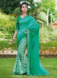 Green Art Silk Casual Wear Saree 83430