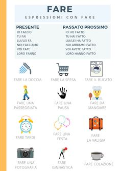 Free Italian lessons material with cool graphics. Make your lessons easier! Italian Verbs, Italian Grammar, Italian Vocabulary, Grammar And Vocabulary, Free Italian Lessons, Spanish Lessons, French Lessons, Teaching Spanish, Learn To Speak Italian