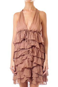 Like this Elizabeth & James dress? Shop this without using money! Trade. Shop. Discover. #fashionexchange #prelovedfashion  Brown Ruffle Halter Dress by Elizabeth & James
