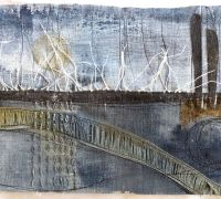 Debbie Lyddon - Marshscape Collage #12, Linen, wax, metal,  linen thread