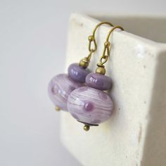 Lavender Polka Dot Earrings Artisan Glass Bead Purple by bstrung, $30.00