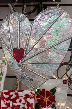 """""""Your Heart In Mine"""" Stained Glass Decorative by TammysStainedGlass, on etsy (sold)"""