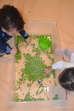 Green peas are not only fun to eat they also make a fun sensory bin filler! Here is a great taste safe sensory bin for babies, toddlers & preschoolers! Baby Sensory Play, Sensory Bins, Green Peas, Infant Activities, Toddler Preschool, Kids And Parenting, 1 Year, Ethnic Recipes, Happy