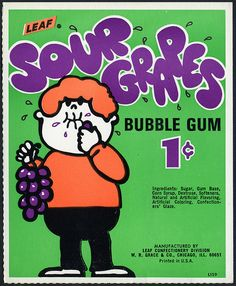 70's. Candy Machine Vending Insert Card - Leaf Sour Grapes.
