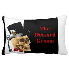 Doomed groom fantasy gothic gambling skull on a classic black and white stripe pillow, with ace of spades cards and casino dice