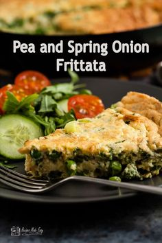 This pea and spring onion frittata is ideal for lunch or a midweek evening meal. Quick and easy to make it is delicious serve hot or cold. Frittata Recipes, Brunch Recipes, Breakfast Recipes, Dinner Recipes, Vegan Recipes, Savoury Recipes, Summer Recipes, Midweek Meals, Dinner Ideas