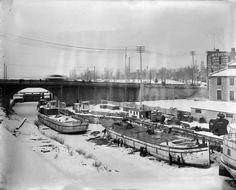 Construction Canada Atlantic Railway Station, Ottawa, Jan 1896 at Rideau Canal and Sappers' Bridge. (760×614)