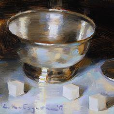 Silver Reflections by Elena Katsyura Oil ~ 6 in x 6 in
