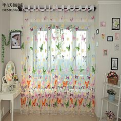 [Visit to Buy] Hot Sales Butterfly Print Sheer Window Panel Pastoral Tulle Curtains Divider New For Living Room Bedroom Kitchen #Advertisement