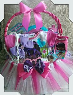 Doc Mcstuffins Gift Basket Made By Norma's Unique Gift Baskets. $50.00 Easter Baskets, Gift Baskets, Ballerina Baby Showers, Wedding Activities, Doc Mcstuffins, Price Comparison, Wedding With Kids, Spa Gifts, Mothers Day Crafts