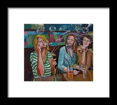 Party Framed Print featuring the painting Girls Party by Carmen Stanescu Kutzelnig Party Frame, Hanging Wire, Fine Art America, Framed Prints, Girls, Painting, Daughters, Maids, Paintings