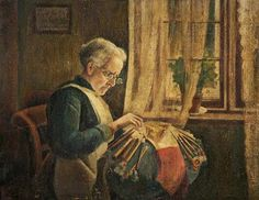 Charles Spencelayh (British artist, 1865-1958)The Lacemaker (Mrs Newell Making Lace) c 1920