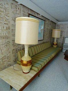 "VTG 1960s MID Century Modern pair of FORTUNE ART POTTERY TABLE LAMPS HUGE 48"""