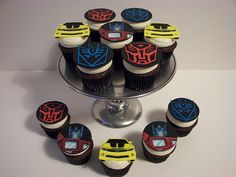 Transformers Decorating Ideas | Chocolate Chocolate Chip Cupcakes with Vanilla Bean Buttercream. Hand ...