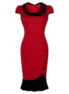 Miusol® Women's Scoop Neck Contrast Vintage Bridesmaid Cocktail Dress (XX-Large, Red) Miusol http://smile.amazon.com/dp/B00VFCRM8A/ref=cm_sw_r_pi_dp_Nsg4wb1H20VCD