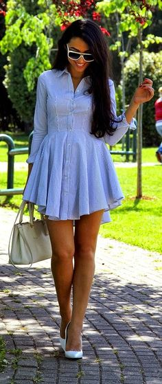 Little Shirt Dress With Classic White