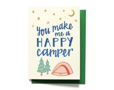 Romantic Valentines Day Card - You Make Me A Happy Camper - Anniversary Card - I Love You Card - Camping Card - Faux Gold Foil
