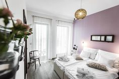 Natura Hill Zebegény, Hungary Pension interior, country-modern style, Sage room - white and violet, wooden furnishing