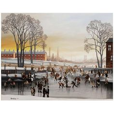 Brian Shields (BRAAQ) - Skating on Thin Ice | From a unique collection of antique and modern paintings at http://www.1stdibs.com/furniture/wall-decorations/paintings/