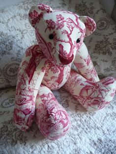 ANTIQUE FRENCH TEDDYBEAR french toile de by vintagefrenchstyle