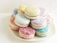 new colors/lace macaron purse/ Jewellery Box/ large macaron coin purse/Romantic lace/macaroon Coin or Jewelry pouch on Etsy, $16.00....Love this!!