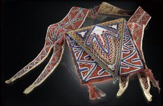 Shoulder bag strap/bandolier (Seminole - Florida)   Wool cloth, cotton cloth, glass bead/beads, silk ribbon, thread