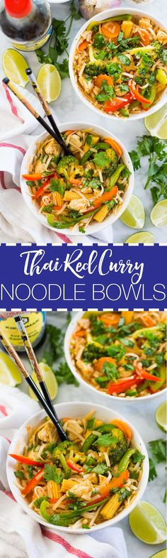 These Thai Red Coconut Curry Noodle Bowls are a delicious twist on the traditional red curry stir fry – perfect for those chilly early fall nights!