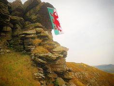 Welsh flag hanging from eagles rock Troedyrhiw #wales #welshflag...