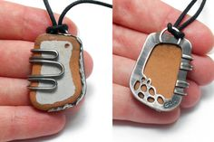 White Beach Pottery Pendant with Fine Silver Pebble by ErinAustin