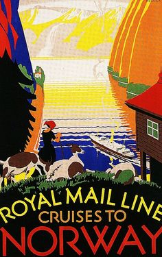 Colorful Royal Mail Line Cruises to Norway vintage travel poster ~ affiches de travel