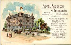 Hotel Roseneck am Fahnenbergplatz - Postkarte des nicht mehr existierenden Hotel Roseneck am Fahnenberplatz.Das Hotel stand an der Stelle des heutigen Notariat neben dem AOK-Gebäude. Das Hotel war bis 1899 eine zweistöckige Pension und wurde in diesem aufgestockt zum Hotel.   /*  */