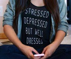 Stressed depressed but well dressed black tshirt for women tshirts shirts shirt top on Etsy, $20.00
