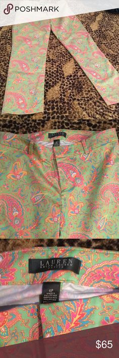Ralph Lauren multicolored pants Straight ankle leg, size 4 petite. Lauren Ralph Lauren Pants Ankle & Cropped