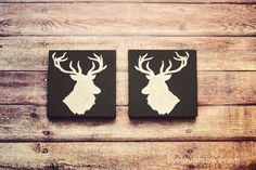 With a few basic supplies, these deer head silhouette canvas pieces are the perfect addition to your holiday decor. Fun Arts And Crafts, Fall Crafts, Christmas Crafts, Geek Jewelry, Metal Jewelry, Bullet Jewelry, Jewelry Necklaces, Deer Head Silhouette, Real Tree Camouflage