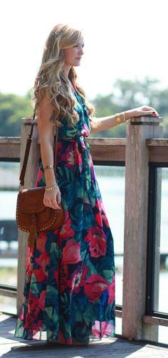 Tommy Bahama tropical maxi dress styled with a tassel crossbody for an easy vacation outfit