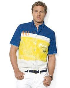 Polo Ralph Lauren Custom-Fit Short-Sleeved Color-Blocked Woven Cotton Shirt