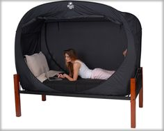 Privacy Pop, the innovative bed tent that lets you let it all hang out, no matter where you are. A Privacy Pop tent gives you the coverage and privacy that you want, so that you can enjoy a place all your own, even in a dorm room or room shared with other.