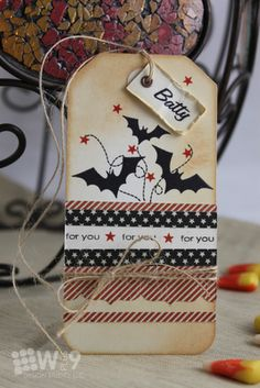 Darling little bat covered Halloween tag.