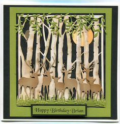 """By Anne Forrest. She used the Taylored Expressions """"Silver Birch Tree"""" dies, but the Sizzix/Tim Holtz """"Birch Trees"""" die might work also. Deer dies from Impression Obsession; grass die from Martha Stewart; leaves and bird dies from Memory Box."""